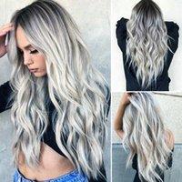 ingrosso parrucche grigie ricci-Parrucca resistente al calore per capelli ondulati sintetici lunghi grigio sfumato per donna