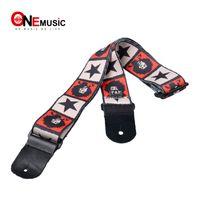 ingrosso chitarre stellari-New Jimi Hendrix con stampa a stella Finiture in vera pelle Cinghia per chitarra acustica regolabile con basso PICKHOLDER MU0386