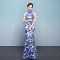 ingrosso abito blu orientale-Blue White Porcelaine Cheongsam Sexy Oriental Dress Asian Wedding Qipao Evening Party Dresses Retro Dressing Gown Plus Size 3XL