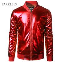 Und Bomber Coated Jacke Herren Baseball Brand Jacket Jacken Silver Mäntel Metallic Leichte Varsity Stehkragen Shiny zqMVpUS