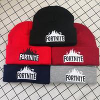 boina roja para niños al por mayor-Fortnite Sombreros 23 estilos Fortnite Gorros Fortnite Batalla punto Hat Hip Hop bordado de punto Caps Adolescente caliente del invierno Gorros Cráneo