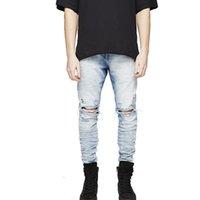erkek tayt kot toptan satış-Biker Jeans erkekler Için tayt Hip Hop Delik erkek giyim joggers kargo dickies Pantolon Artı Boyutu 29-36 giysi baskılı jog ...