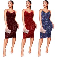 Wholesale sequined dresses online - Club Dress for Women Evening Sequined Spaghetti Strap Dresses Clothing Bodycon Dress