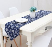 Wholesale unique printed bedding resale online - Retro Ethnic Style Printing Table Runner Blue Decorative Pattern Bed Flag Super Soft Unique Table Cloth W9051