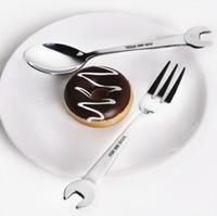 meyve çatalı şekil toptan satış-Yaratıcı Anahtarı Şekli yemek Çatal Kaşık Salata Paslanmaz Çelik Meyve Dessrt Çatal Yaratıcı Kaşık Ve Forks Anahtarı Sofra