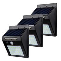 bola redonda jardín luces solares al por mayor-30 LED PIR Sensor de movimiento Luz de pared LED exterior Lámparas solares Lámpara de ahorro de energía Jardín de su casa Patio Seguridad Luces de calle Luz solar LED
