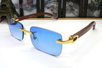 beyaz tarz gözlükler toptan satış-Lüks çerçevesiz beyaz manda boynuzu gözlük ahşap güneş gözlüğü 2019 erkekler için yeni stilleri ile fransa marka tasarımcı güneş gözlüğü kutusu