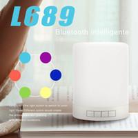 salon lambaları toptan satış-Taşınabilir Gece Lambası Bluetooth Hoparlör Lambası Akıllı Dokunmatik Kontrol Premium Başucu Yatak Odası Salon Kablosuz Hoparlör Için LED Işık