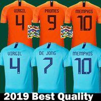 hollanda anasayfa toptan satış-Tayland 2019 2020 hollanda Futbol Formaları VIRGIL DE JONG MEMPHIS Ev camisa de futebol 19 20 maillot STROOTMAN ROBBEN SNERJDER Gömlek