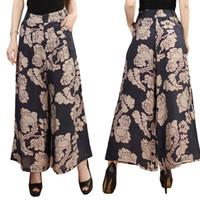 женские шорты лето оптовых-Hot Sell 2019 Summer New Skirts Pants Women Plus Size Print Wide Leg Pants Thin Female Ankle-Length Casual Loose