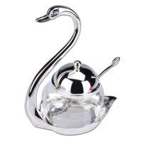 küche zink großhandel-Zink-Legierung Küche Würzen Flasche Swan Design Zucker Salz Kaffee Vorratstank mit Löffeln Küche, das Werkzeug