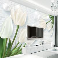papel de parede não tecido murais venda por atacado-Personalizado Mural 3D Wallpaper Europa Moderna 3D em relevo Tulip Jade Sala TV fundo não tecido Papel de Parede Parede coberta Mural