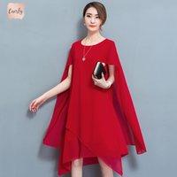 kırmızı şapka giysileri toptan satış-Şifon Cape Elbise Şık Resmi akşam yemeği Artı boyutu 4XL 5XL Yaz Elbise Robe Parti Noble Kırmızı Giyim A Hattı