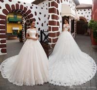 Wholesale wedding dresses turkey resale online - Vintage Lace A Line Wedding Dresses Modest Off the Shoulder Applique Turkey Women Country Bridal Gowns With Sweep Train robe de mariée