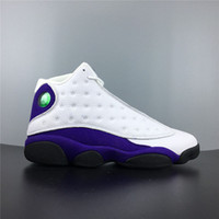 zapatillas actualizadas al por mayor-Zapatillas de baloncesto blancas purpúreas de Lakers Rivals de 13 años Hombres Historia de vuelo Zapatillas deportivas con caja