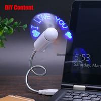 display led flexível venda por atacado-Ventilador USB portátil Flexível Mini USB Gadgets Com Luz LED Display Relógio de Imitação USB Gadget Para Laptop