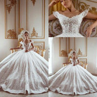 Wholesale gown made pearls resale online - 2020 New Arrival Luxury White Elegant Ball Gown Wedding Dresses Off Shoulders Full Lace Appliques Sequins Crystals Bridal Gowns Custom Made