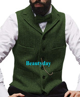 ingrosso giacche da festa-2019 Farm Grey Groom Gilet di lana a spina di pesce Tweed Groomsmen Vest Slim Fit Mens Dress Suit Vest Prom Wedding Party Gilet