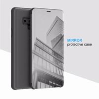 зеркальный флип кожаный чехол оптовых-Официальный Смарт Окно Wake Up Flip Case Зеркало Кожаный Бумажник Чехол Для Iphone XR XS MAX Для Samsung Galaxy Note 9 S10 Plus E