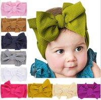 saç bantları toptan satış-Bebek kız büyük yay Çapraz Bantlar çocuklar Saç yaylar Elastik şapkalar Headdress saç bandı Headwrap Türban Düğüm Çocuk Saç Aksesuarları