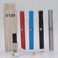diseños de batería de pluma vape al por mayor-Auténtico Hibron V100 Batería 650 mAh Precalentamiento Voltaje variable Discreto Vape Pen con cargador USB Nuevo modo de batería Diseño original