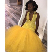 Wholesale black tull dresses online - 2019 Mermaid Yellow Black Girls Prom Dresses Tull Lace Applique Beaded Floor Length Formal Evening Dress Party Gowns