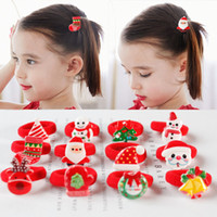 Wholesale cartoon hair rope resale online - Girls Christmas Hairbands Cartoon Santa Claus Hair Ring Baby Girls Cute Hairband Baby Hair Rope Rubber Band Headwear