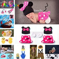 Wholesale hot baby photography props for sale - Group buy Hot Sale Crochet Infant Newborn Baby Photography Props Knitted Baby Boys Girls Cartoon Costume Bebe Foto