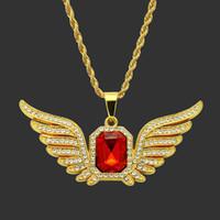 ingrosso collana oro del pendente degli uomini-Gioielli hip hop Shellhard strass colore oro quadrato rosso ciondolo in cristallo collane per donna uomo gioielli collana lunga catena