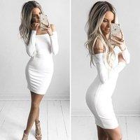 ingrosso grandi donne bianche sexy-Le donne Sexy Dress Fashion La parola spalla Summer Autumn Dress Vestidos Big Size Abbigliamento donna Abiti bianco nero