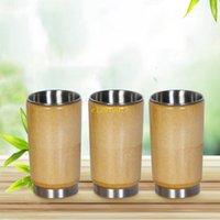 ingrosso bicchieri di bambù tazze-il trasporto libero 50pcs creativo 304 tazza di acqua dell'acciaio inossidabile vetri di bambù giapponesi originali originali senza coperchio