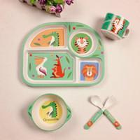 Wholesale dinnerware set cartoon resale online - New set Baby Feeding Tableware Set Bamboo Fiber Children Dinnerware Cartoon Baby Dishes Training Bowl With Cup Fork Spoon