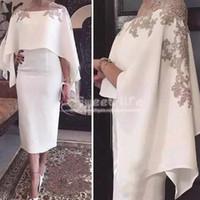 chal vestido de fiesta blanco al por mayor-2019 Cape Shawl medias mangas Vestidos de madre de la novia Apliques Longitud de té blanca Vaina Cóctel Vestido de fiesta Vestidos de noche