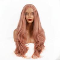 ingrosso legami ad alta densità-Moda parrucche sintetiche resistenti al calore in oro rosa Parrucche lunghe a forma di onda femminile da donna Parrucche sintetiche ad alta densità Mezza mano 180% Densità