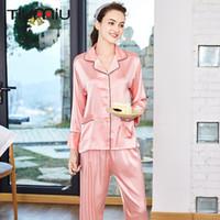 damen pyjama homewear großhandel-Rosa Nightgown Frauen Pyjama Sets Qualitäts-Damen V-Ausschnitt Nachtwäsche Homewear Wäsche-Sommer-reizvolle Schlaf-Hemd mit Hosen tragen