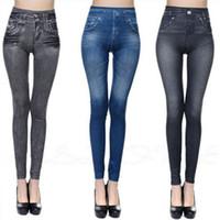 imitação de leggings denim venda por atacado-Atacado Hot Jeans para Mulheres Denim Calças com Bolso Puxar Caxemira Corpo Imitação Cowboy Slim Leggings Mulheres de Fitness Dropshipping