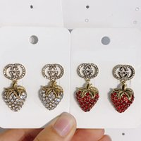 Wholesale strawberry jewelry resale online - Vintage Rhinestone Strawberry Stud Earring Bling Bling Rhinestone Letter Earring Fashion Jewelry Accessories for Gift Party