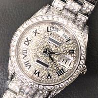 мужские роскошные часы с бриллиантами оптовых-Календарь Full diamond 41мм 18к роскошные часы с автоматическим механизмом сапфировые мужские часы дизайнерские наручные часы высшего качества из нержавеющей стали 316