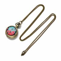 ожерелье из лисного сплава оптовых-Ckku ювелирные изделия элегантный ожерелье карманные часы две лисы ретро античная арабская цифра с 32-дюймовый сплава цепи LPW74