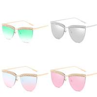 Wholesale sunglasses set for sale - Group buy Ultraviolet Proof Women Sunglasses Ocean Film Set In Drill Sunglass Retro Metal Eyewear Multi Colours Creative New xf D1