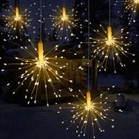 feuerwerk sterne großhandel-DIY 100/150/200 LED Feuerwerk Explosion Star Christmas Fairy Light Mit Fernbedienung 8 Modi Hängen Starburst LED String Garland