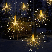 guirlanda iluminada levada venda por atacado-DIY 100/150/200 LED Fogos De Artifício Explosão Estrela de Natal Luz De Fadas Com Controle Remoto 8 Modos Pendurados Starburst LED Corda Garland
