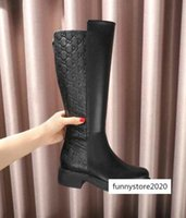 Wholesale long genuine leather boots women for sale - Group buy Luxury Letter Embossing Zipper Long Black Genuine Cowhide Leather Woman Boots With Box