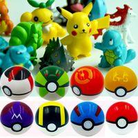 ingrosso pvc palla 7cm-Nuovi 15 stili 7cm Pikachu Elf Balls con 2-3 cm Pikachu Action Figures ABS Super monster ball Giocattoli Diversi Pokball Mini Modello L121