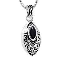 Wholesale teardrop stones pendants resale online - IJD8394 Flower Teardrop Stone Inlay Stainless Steel Cremation Pendant Urn Necklace Funeral Casket for Men Women