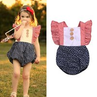 Wholesale 4th of july romper for sale - Group buy kids clothes girls Flying sleeve romper infant toddler star Stripe Jumpsuits Summer th Of July baby Climbing Clothing C6626