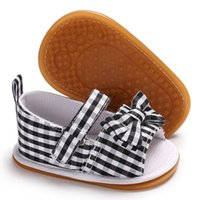 модельная обувь оптовых-New Bow Striped Pattern Baby girls sandals Cotton fabric Rubber sole infant Crib shoes baby Moccasins sandals shoes
