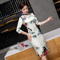 c84af2f4839c Rayon stampa donne sexy vintage breve stampa cheongsam novità cinese di  stile cinese del collare del vestito delle signore Slim Qipao S-XXXL