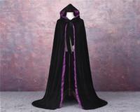 schwarze mantelzubehör großhandel-Velvet Black und lila Hochzeit im Freien Umhang Capes Mantel Prinzessin Hochzeit Schal für Brautzusätze Umhang