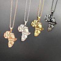ожерелье кулон для мальчиков оптовых-Африка Карта ожерелья 4 Colorfor Женщины Мужчины Эфиопского Jewelry собака Теги подвеска Hip Hop ожерелья для мальчика подарки ювелирных изделий